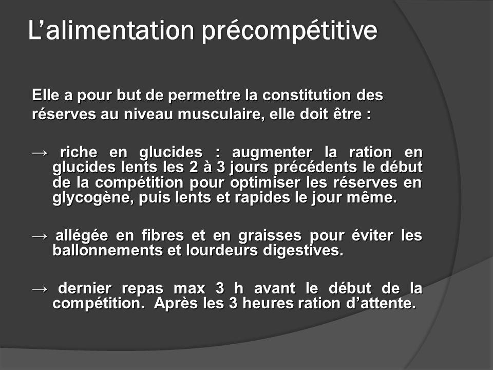 Lalimentation précompétitiveLalimentation précompétitive Elle a pour but de permettre la constitution des réserves au niveau musculaire, elle doit êtr