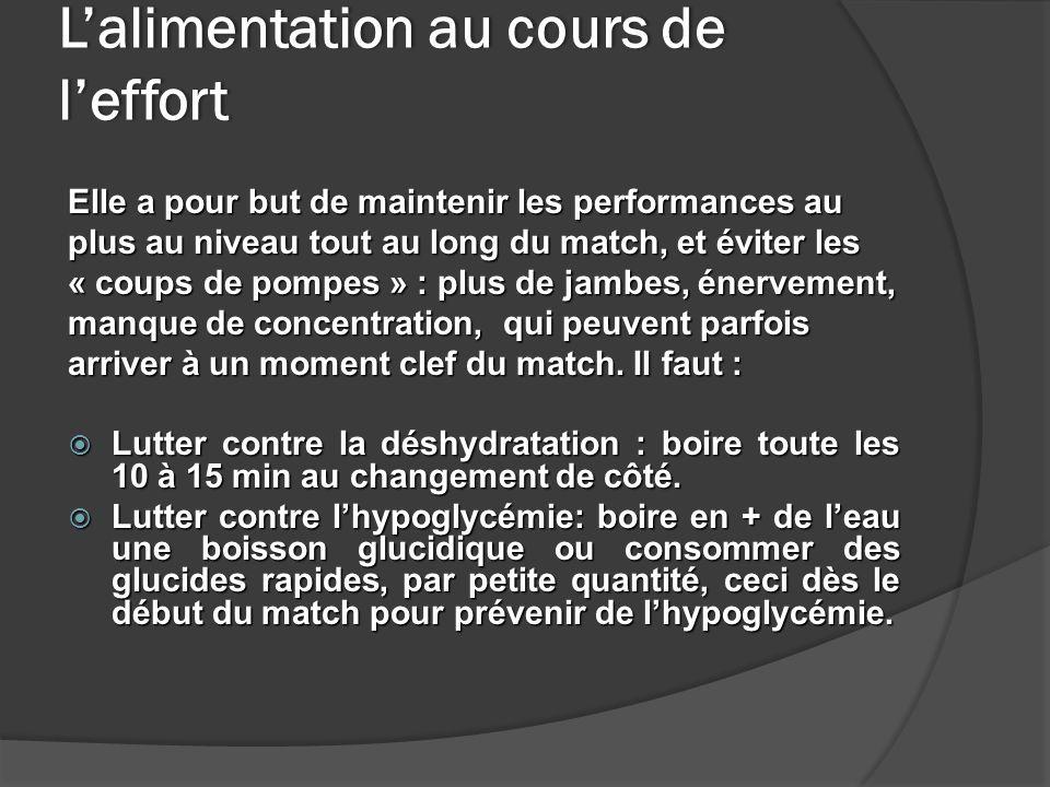 Lalimentation au cours de leffort Elle a pour but de maintenir les performances au plus au niveau tout au long du match, et éviter les « coups de pomp
