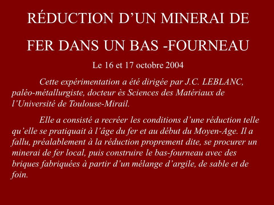 RÉDUCTION DUN MINERAI DE FER DANS UN BAS -FOURNEAU Le 16 et 17 octobre 2004 Cette expérimentation a été dirigée par J.C.