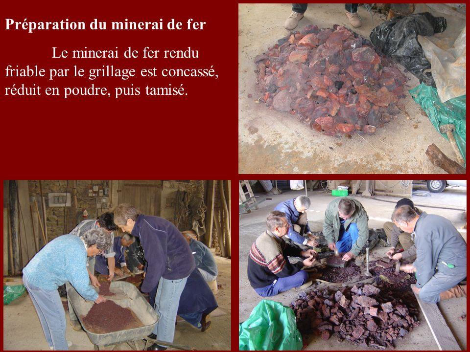 Préparation du minerai de fer Le minerai de fer rendu friable par le grillage est concassé, réduit en poudre, puis tamisé.