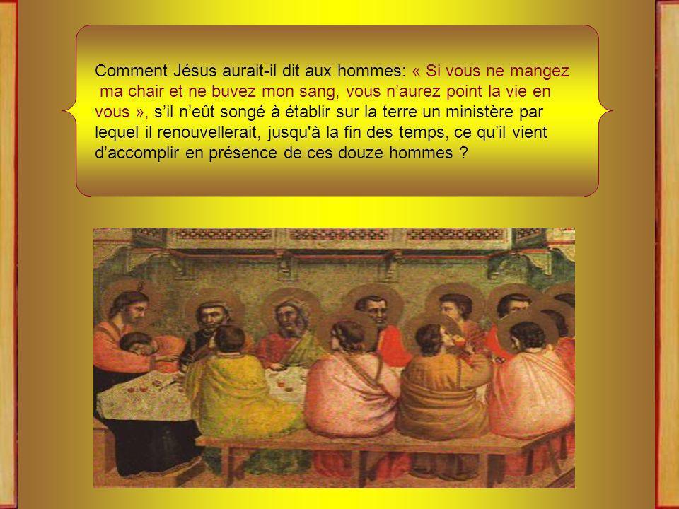 Ce qui se passe aujourdhui dans le Cénacle nest point un événement arrivé une fois dans la vie mortelle du Fils de Dieu, et les Apôtres ne sont pas seulement les convives privilégiés de la table du Seigneur.