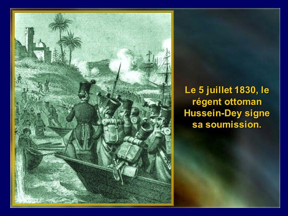 La France, mandatée par le congrès, tente la négociation mais le refus dexcuse pour le coup déventail entraine un ultimatum au Dey en juin 1827, puis un blocus jusquen 1830.