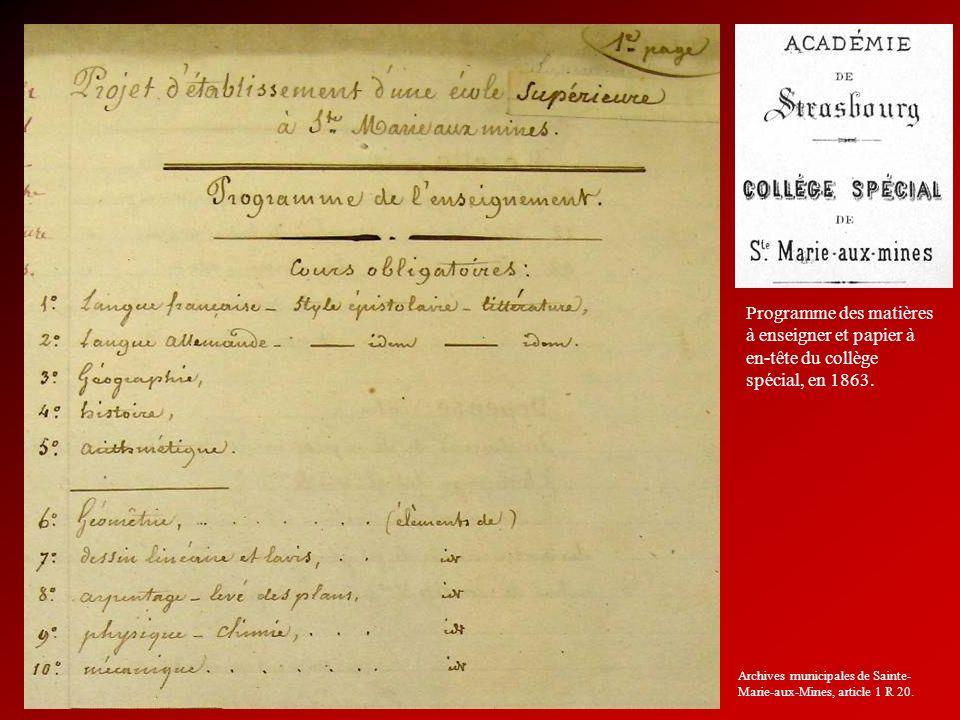 Programme des matières à enseigner et papier à en-tête du collège spécial, en 1863. Archives municipales de Sainte- Marie-aux-Mines, article 1 R 20.