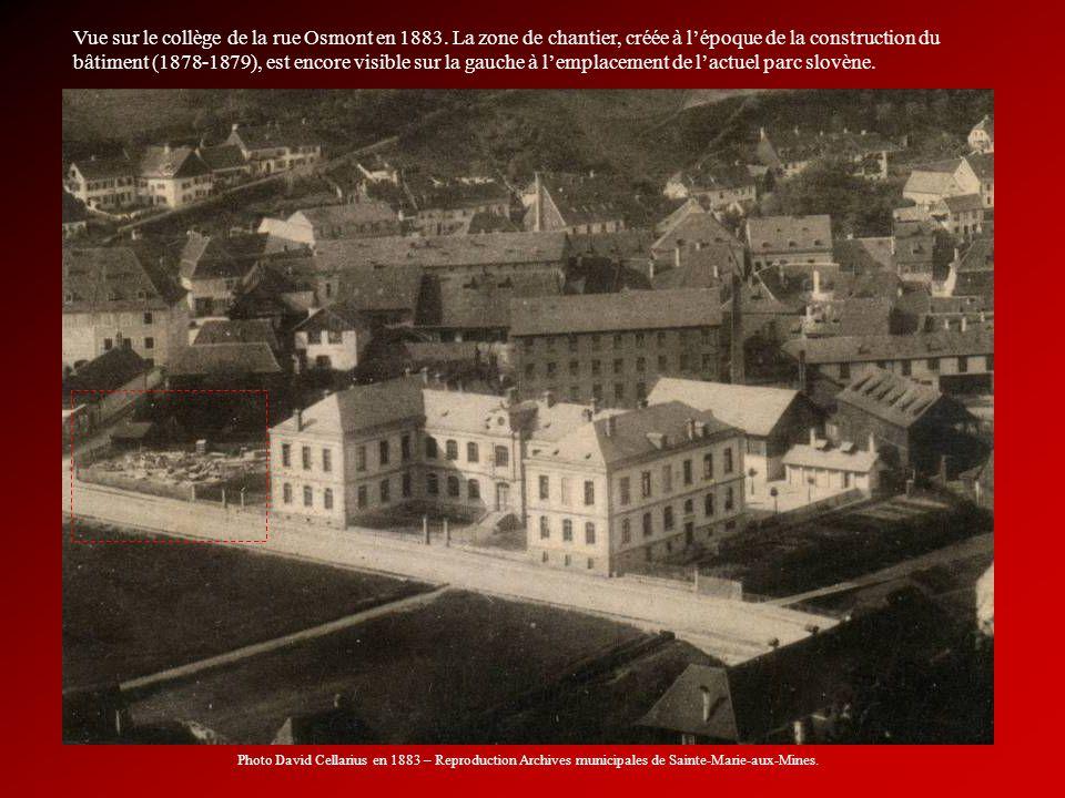 Vue sur le collège de la rue Osmont en 1883. La zone de chantier, créée à lépoque de la construction du bâtiment (1878-1879), est encore visible sur l