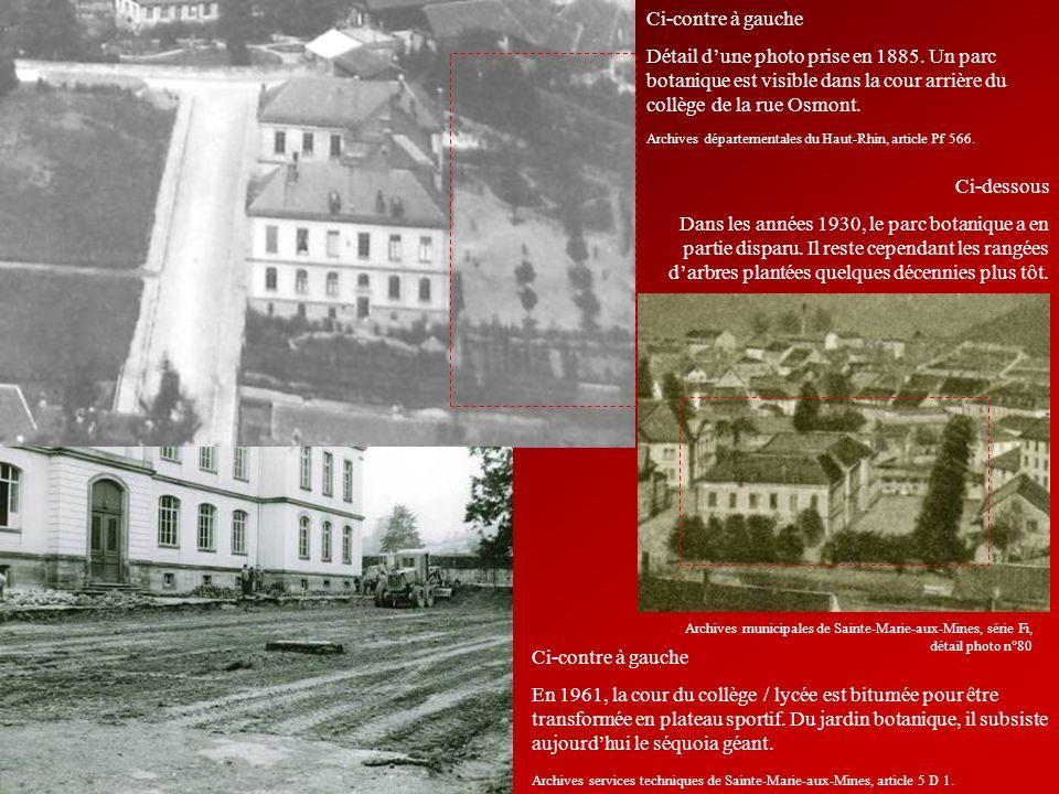 Ci-contre à gauche Détail dune photo prise en 1885. Un parc botanique est visible dans la cour arrière du collège de la rue Osmont. Ci-dessous Dans le