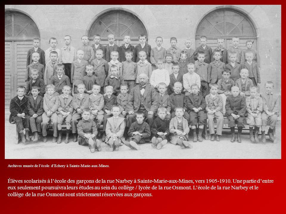 Élèves scolarisés à lécole des garçons de la rue Narbey à Sainte-Marie-aux-Mines, vers 1905-1910. Une partie dentre eux seulement poursuivra leurs étu