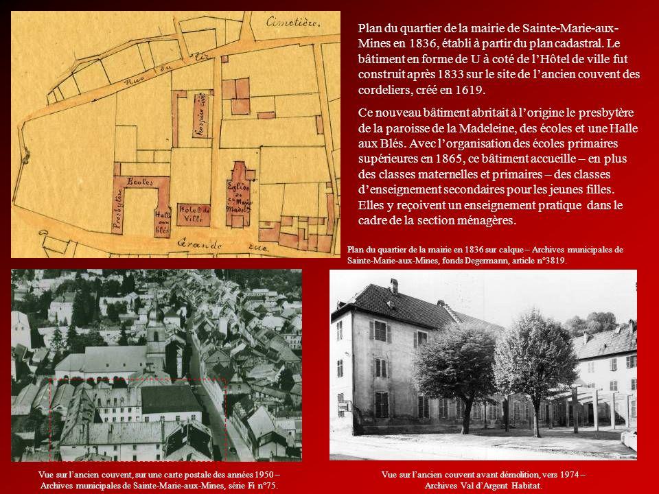 Plan du quartier de la mairie de Sainte-Marie-aux- Mines en 1836, établi à partir du plan cadastral. Le bâtiment en forme de U à coté de lHôtel de vil