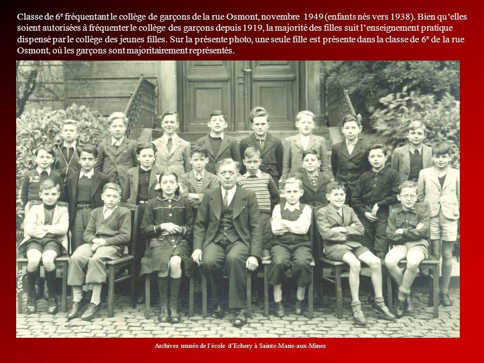 Classe de 6 e fréquentant le collège de garçons de la rue Osmont, novembre 1949 (enfants nés vers 1938). Bien quelles soient autorisées à fréquenter l