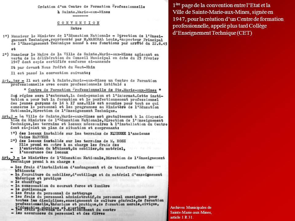 1 ère page de la convention entre lEtat et la Ville de Sainte-Marie-aux-Mines, signée en 1947, pour la création dun Centre de formation professionnell