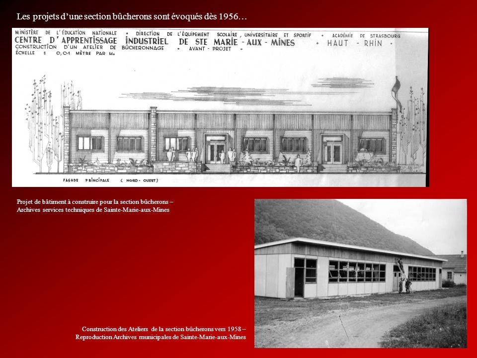 Les projets dune section bûcherons sont évoqués dès 1956… Projet de bâtiment à construire pour la section bûcherons – Archives services techniques de