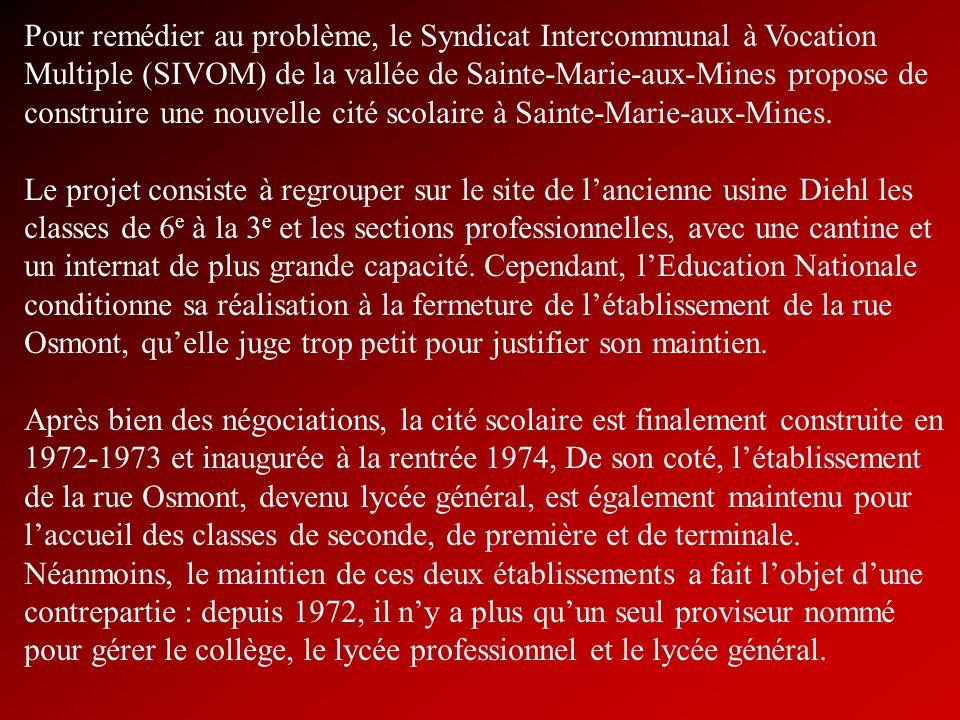 Pour remédier au problème, le Syndicat Intercommunal à Vocation Multiple (SIVOM) de la vallée de Sainte-Marie-aux-Mines propose de construire une nouv