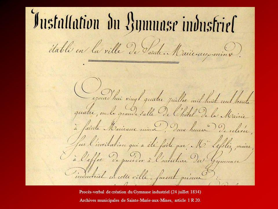 Procès-verbal de création du Gymnase industriel (24 juillet 1834) Archives municipales de Sainte-Marie-aux-Mines, article 1 R 20.