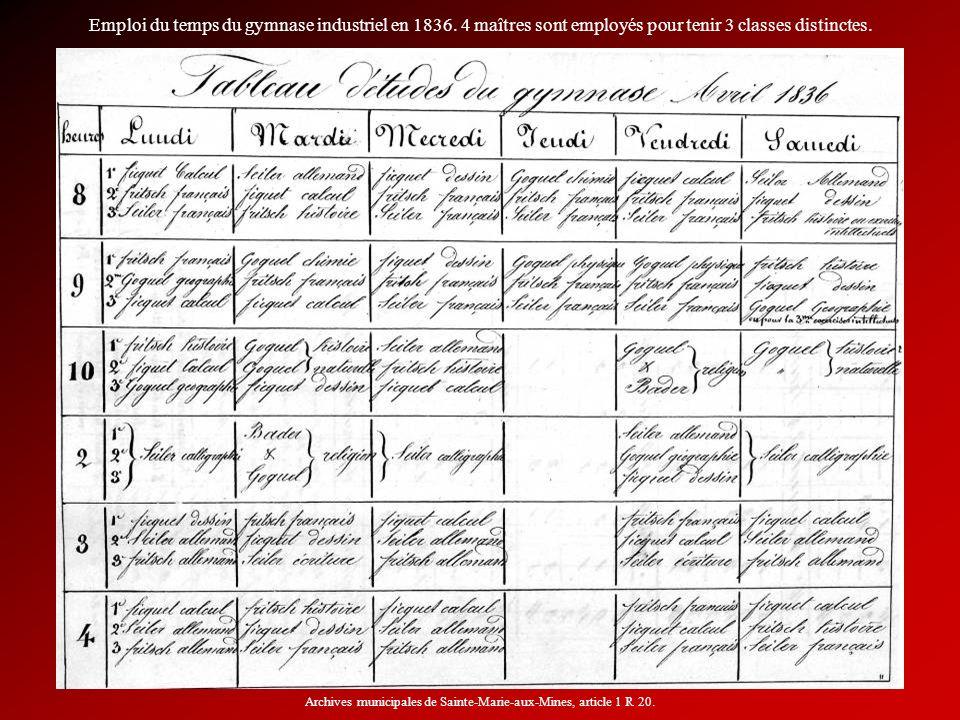 Emploi du temps du gymnase industriel en 1836. 4 maîtres sont employés pour tenir 3 classes distinctes. Archives municipales de Sainte-Marie-aux-Mines