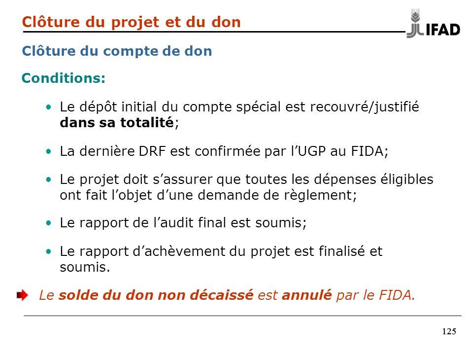 125 Conditions: Le dépôt initial du compte spécial est recouvré/justifié dans sa totalité; La dernière DRF est confirmée par lUGP au FIDA; Le projet d