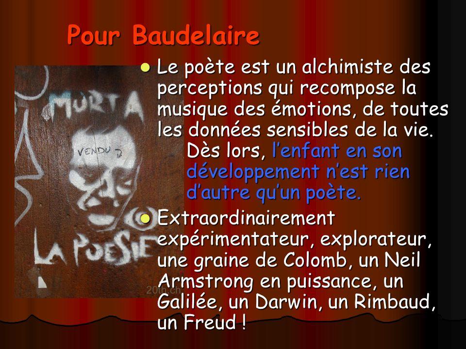 Pour Baudelaire Le poète est un alchimiste des perceptions qui recompose la musique des émotions, de toutes les données sensibles de la vie.