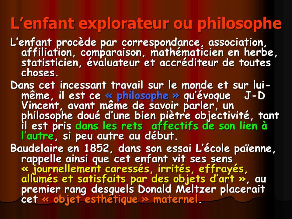 Lenfant explorateur ou philosophe Lenfant procède par correspondance, association, affiliation, comparaison, mathématicien en herbe, statisticien, évaluateur et accréditeur de toutes choses.