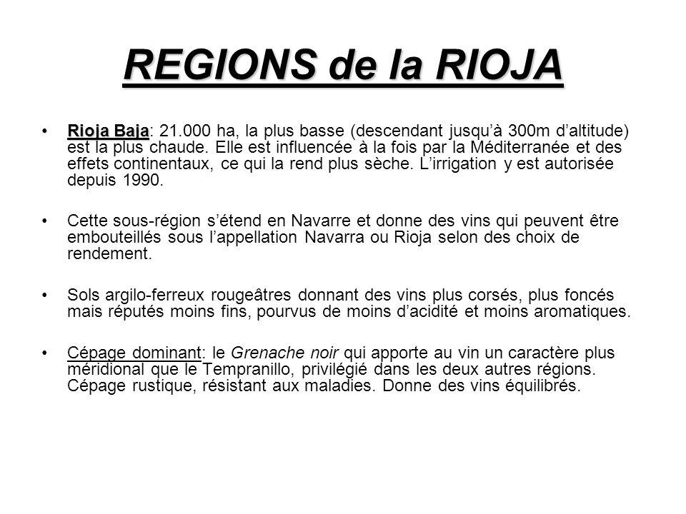 REGIONS de la RIOJA Rioja BajaRioja Baja: 21.000 ha, la plus basse (descendant jusquà 300m daltitude) est la plus chaude.
