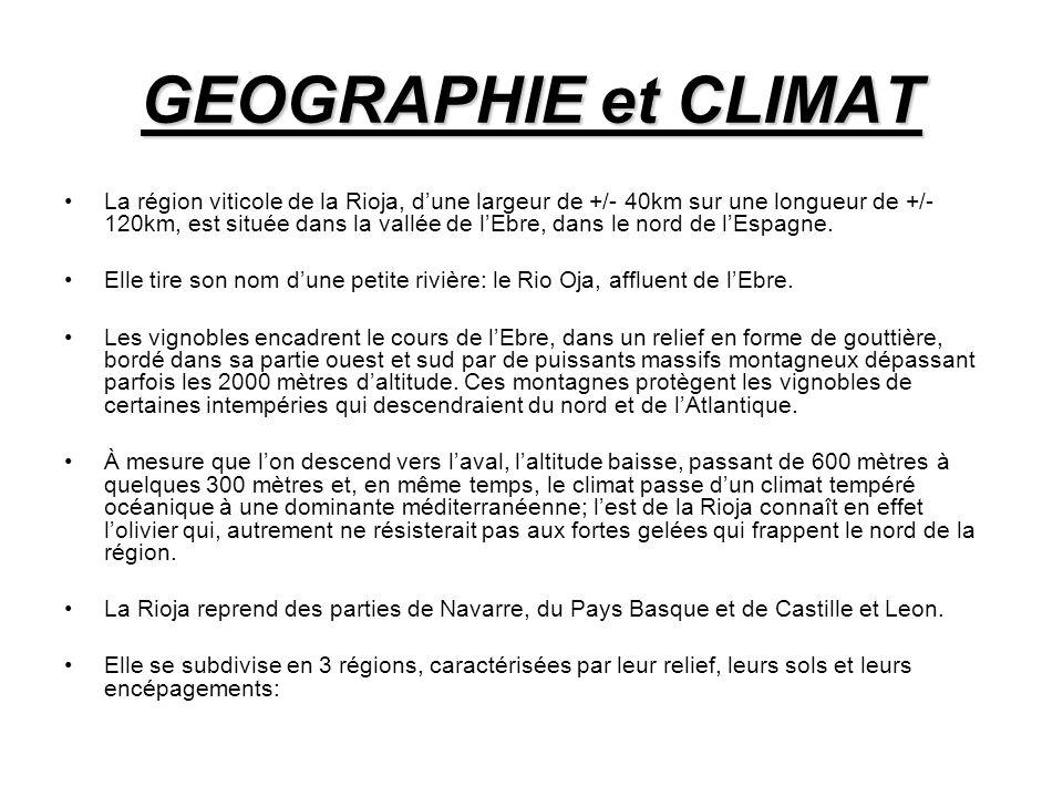 GEOGRAPHIE et CLIMAT La région viticole de la Rioja, dune largeur de +/- 40km sur une longueur de +/- 120km, est située dans la vallée de lEbre, dans le nord de lEspagne.