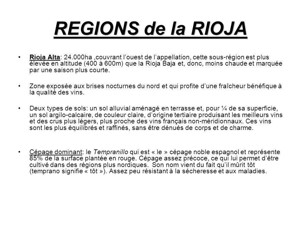 Rioja AltaRioja Alta: 24.000ha,couvrant louest de lappellation, cette sous-région est plus élevée en altitude (400 à 600m) que la Rioja Baja et, donc, moins chaude et marquée par une saison plus courte.