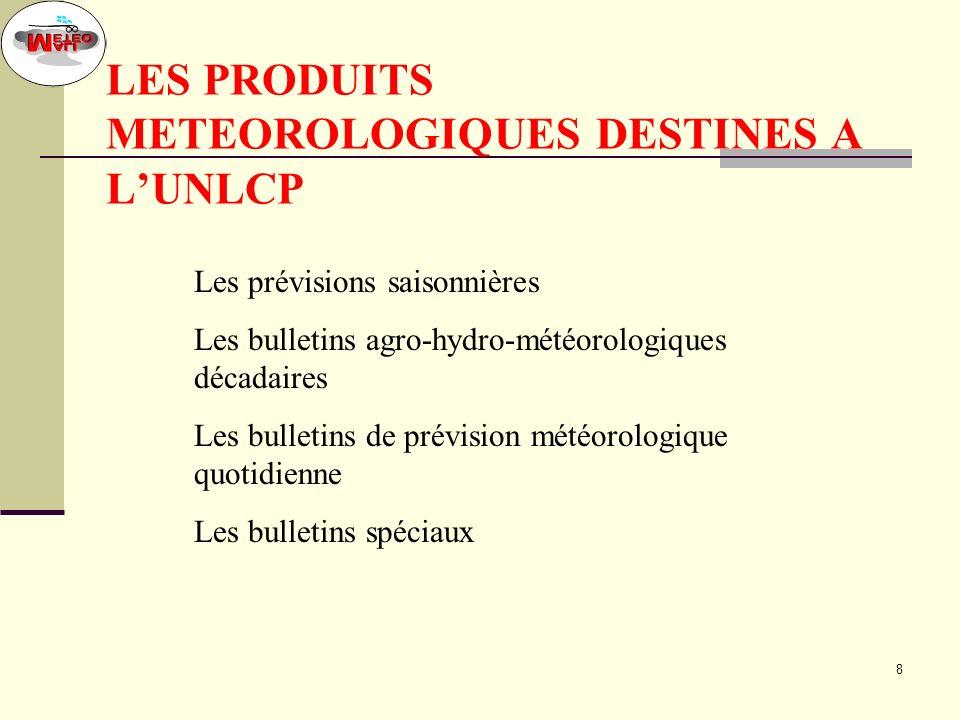 18 LES BULLETINS SPECIAUX A la demande de lUnité National de Lutte contre le Criquet Pèlerin, des bulletins spéciaux sont élaborés sur des zones ciblées.