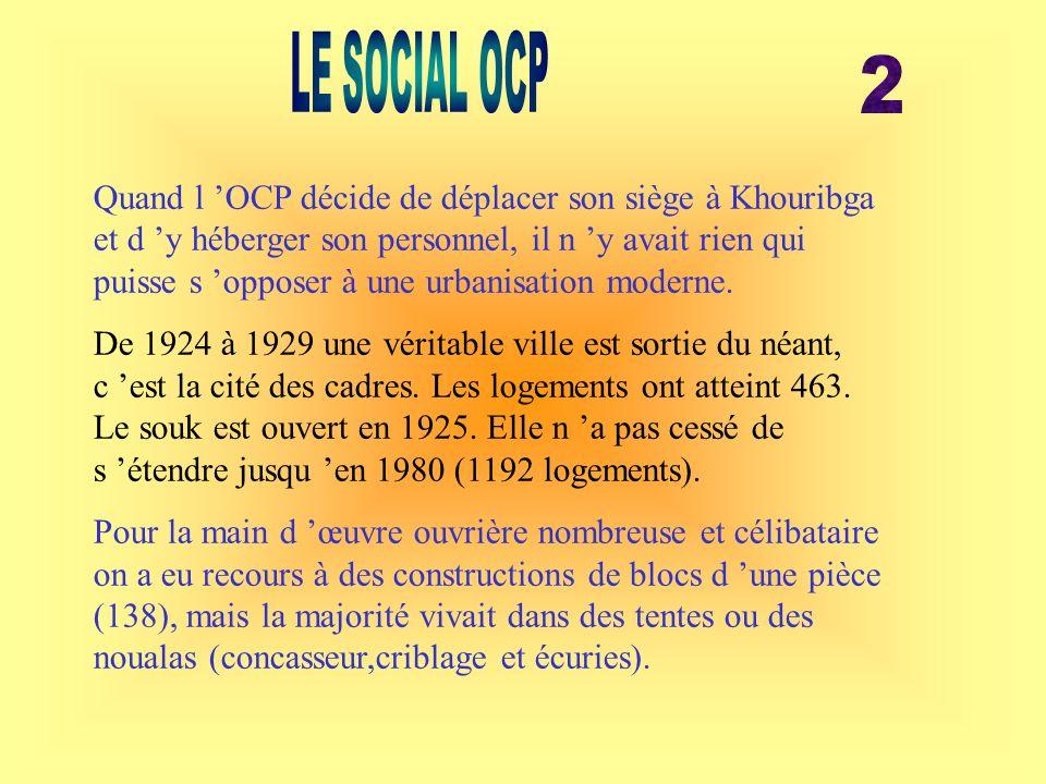 Quand l OCP décide de déplacer son siège à Khouribga et d y héberger son personnel, il n y avait rien qui puisse s opposer à une urbanisation moderne.