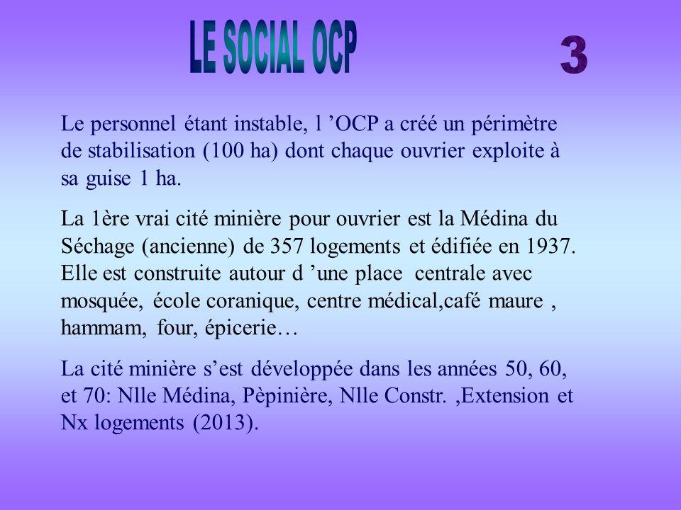 Le personnel étant instable, l OCP a créé un périmètre de stabilisation (100 ha) dont chaque ouvrier exploite à sa guise 1 ha. La 1ère vrai cité miniè