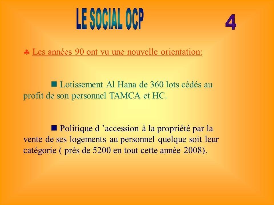 Les années 90 ont vu une nouvelle orientation: Lotissement Al Hana de 360 lots cédés au profit de son personnel TAMCA et HC. Politique d accession à l