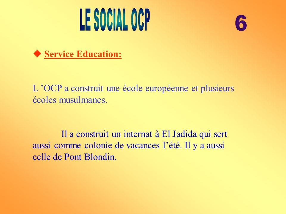 Service Education: L OCP a construit une école européenne et plusieurs écoles musulmanes. Il a construit un internat à El Jadida qui sert aussi comme