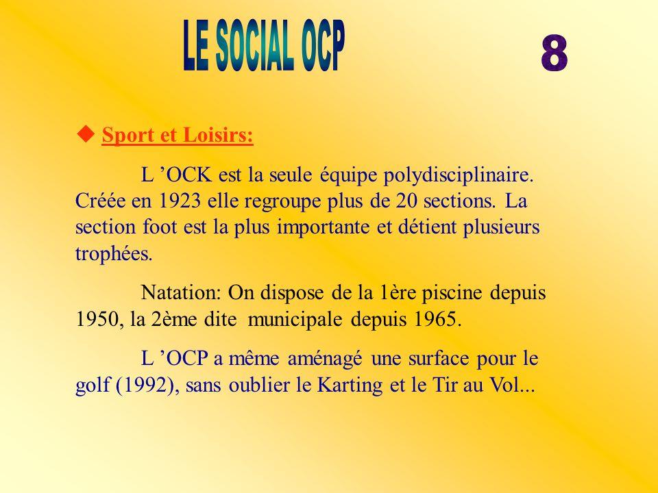 Sport et Loisirs: L OCK est la seule équipe polydisciplinaire. Créée en 1923 elle regroupe plus de 20 sections. La section foot est la plus importante