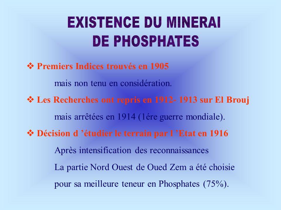 Premiers Indices trouvés en 1905 mais non tenu en considération. Les Recherches ont repris en 1912- 1913 sur El Brouj mais arrêtées en 1914 (1ére guer