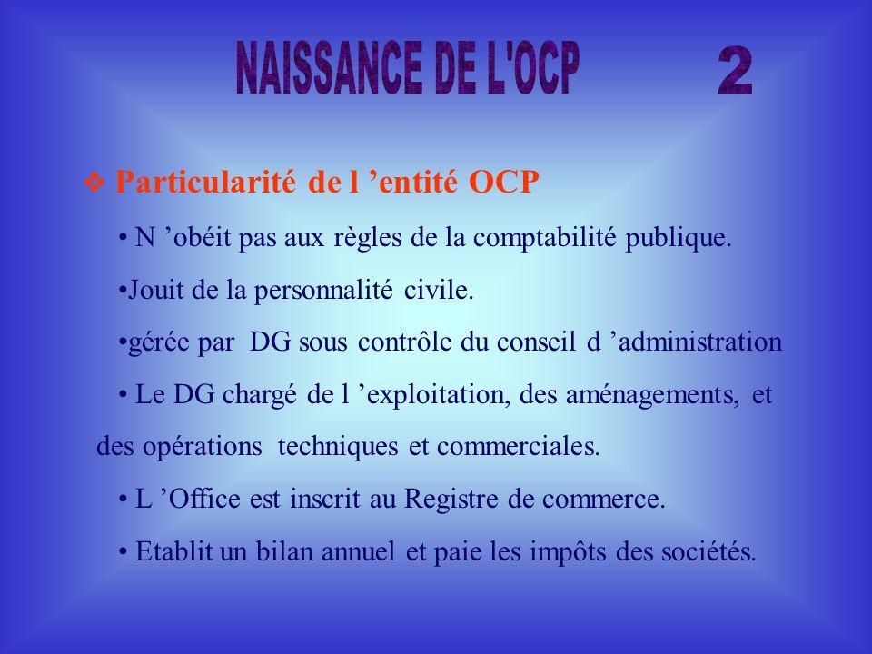 Particularité de l entité OCP N obéit pas aux règles de la comptabilité publique. Jouit de la personnalité civile. gérée par DG sous contrôle du conse