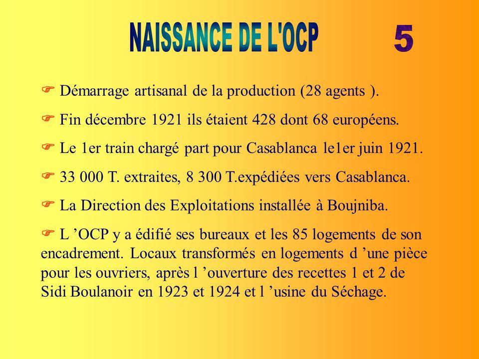 Démarrage artisanal de la production (28 agents ). Fin décembre 1921 ils étaient 428 dont 68 européens. Le 1er train chargé part pour Casablanca le1er