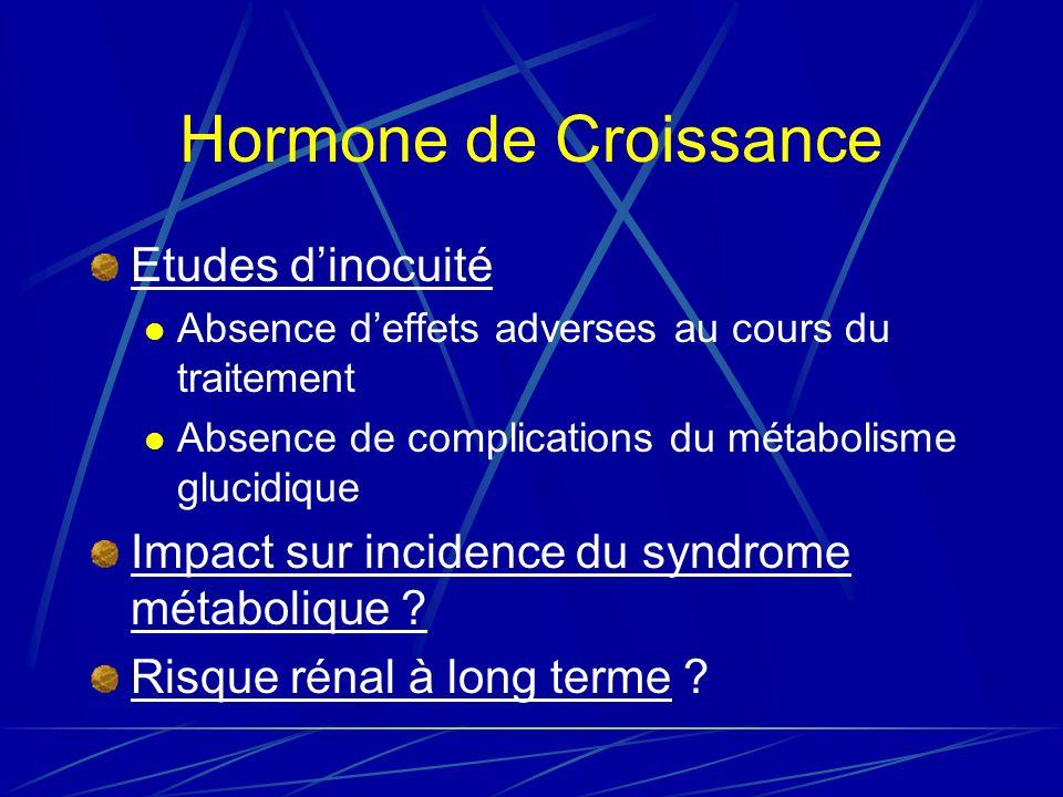 Hormone de Croissance Etudes dinocuité Absence deffets adverses au cours du traitement Absence de complications du métabolisme glucidique Impact sur incidence du syndrome métabolique .