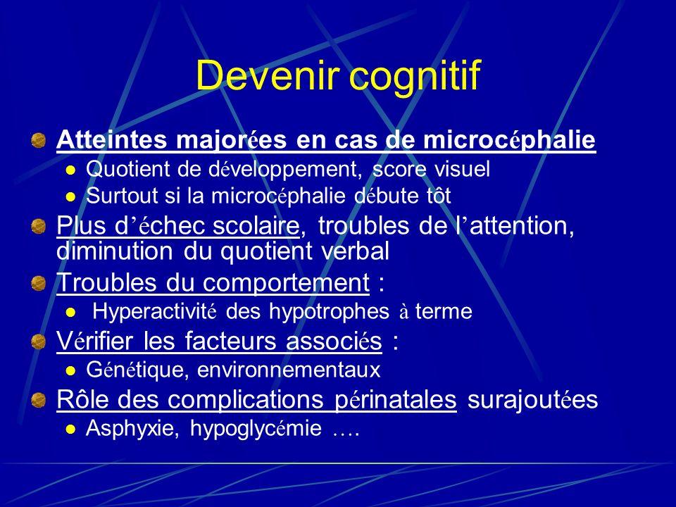 Devenir cognitif Atteintes major é es en cas de microc é phalie Quotient de d é veloppement, score visuel Surtout si la microc é phalie d é bute tôt Plus d é chec scolaire, troubles de l attention, diminution du quotient verbal Troubles du comportement : Hyperactivit é des hypotrophes à terme V é rifier les facteurs associ é s : G é n é tique, environnementaux Rôle des complications p é rinatales surajout é es Asphyxie, hypoglyc é mie ….