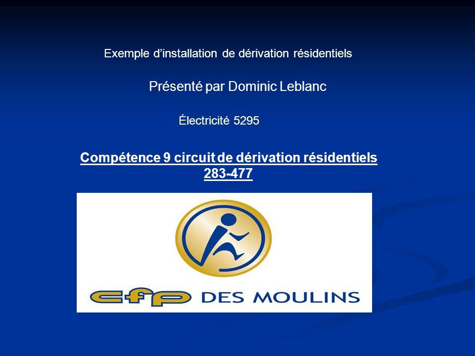 Exemple dinstallation de dérivation résidentiels Présenté par Dominic Leblanc Électricité 5295 Compétence 9 circuit de dérivation résidentiels 283-477