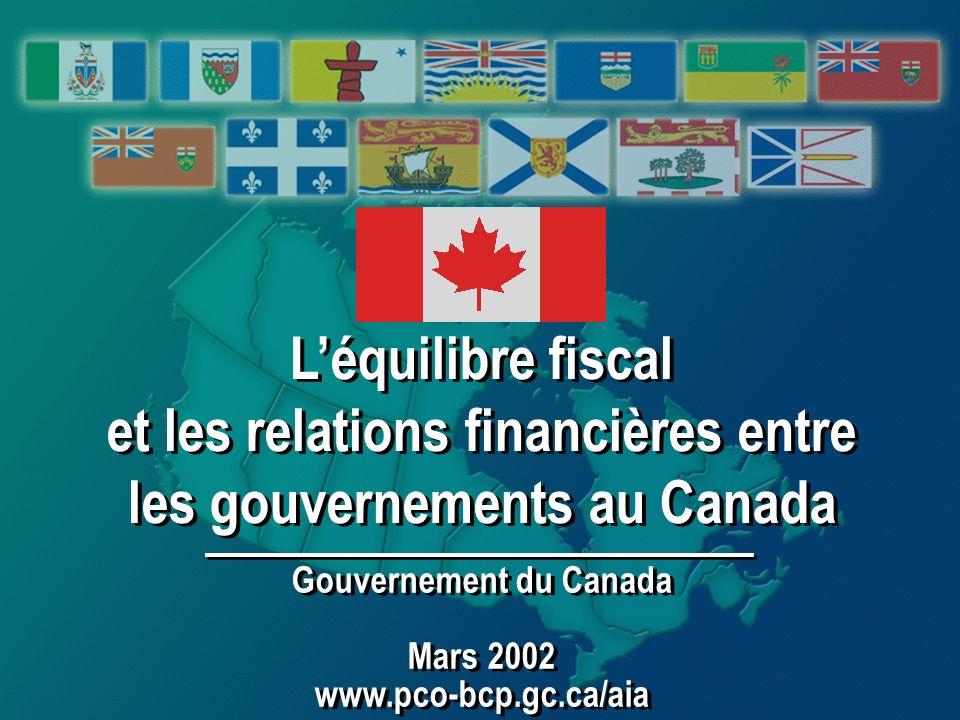 Léquilibre fiscal et les relations financières entre les gouvernements au Canada Léquilibre fiscal et les relations financières entre les gouvernements au Canada Gouvernement du Canada Mars 2002 www.pco-bcp.gc.ca/aia Gouvernement du Canada Mars 2002 www.pco-bcp.gc.ca/aia