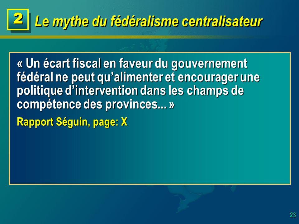 23 Le mythe du fédéralisme centralisateur 2 2 « Un écart fiscal en faveur du gouvernement fédéral ne peut qualimenter et encourager une politique dintervention dans les champs de compétence des provinces...