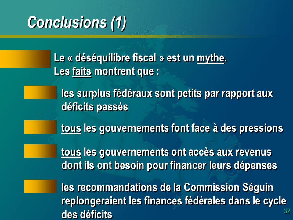 32 Conclusions (1) Le « déséquilibre fiscal » est un mythe.