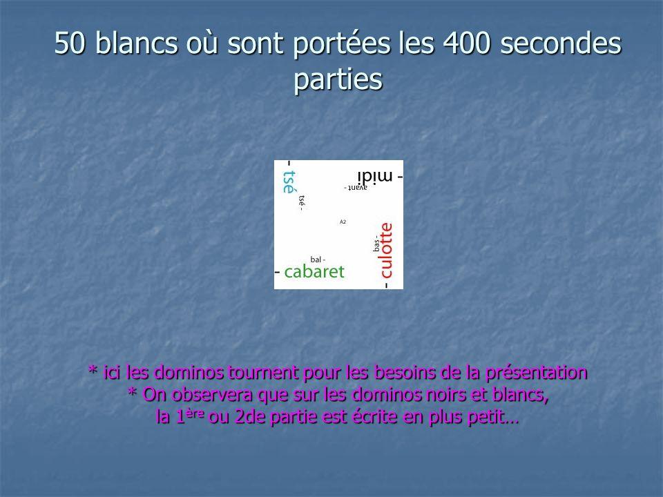 50 blancs où sont portées les 400 secondes parties * ici les dominos tournent pour les besoins de la présentation * On observera que sur les dominos noirs et blancs, la 1 ère ou 2de partie est écrite en plus petit…