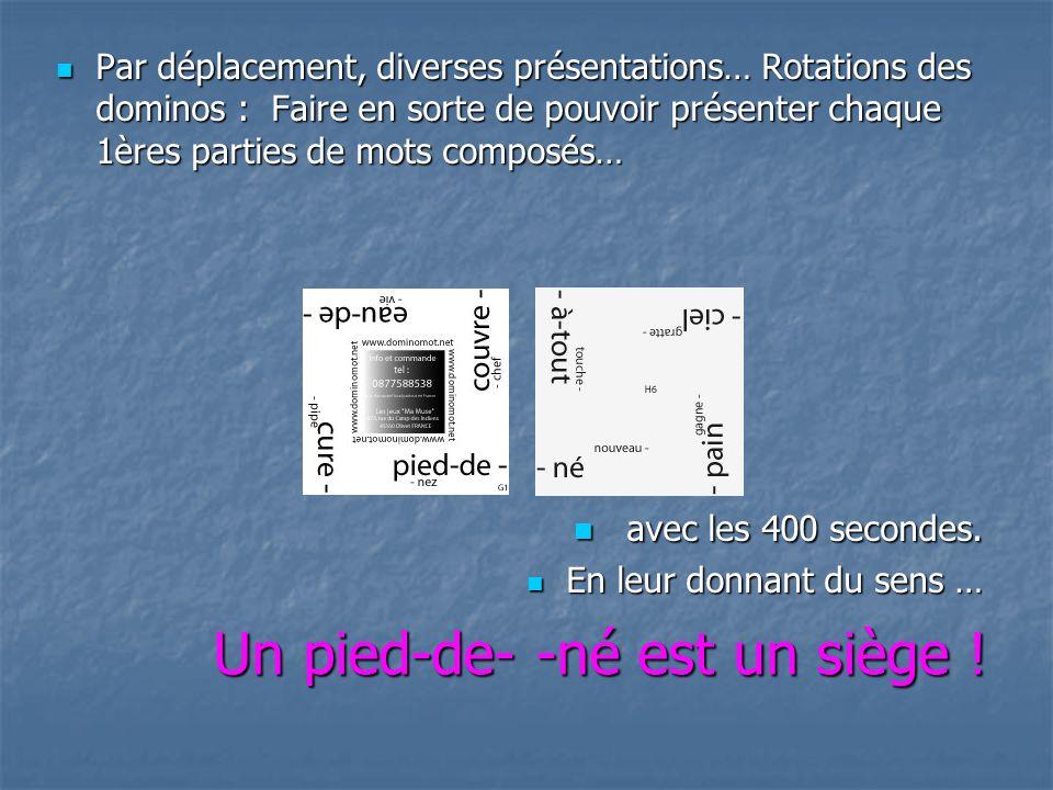 Par déplacement, diverses présentations… Rotations des dominos : Faire en sorte de pouvoir présenter chaque 1ères parties de mots composés… Par déplacement, diverses présentations… Rotations des dominos : Faire en sorte de pouvoir présenter chaque 1ères parties de mots composés… avec les 400 secondes.