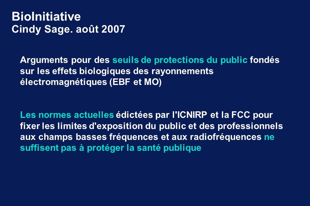 Arguments pour des seuils de protections du public fondés sur les effets biologiques des rayonnements électromagnétiques (EBF et MO) Les normes actuel