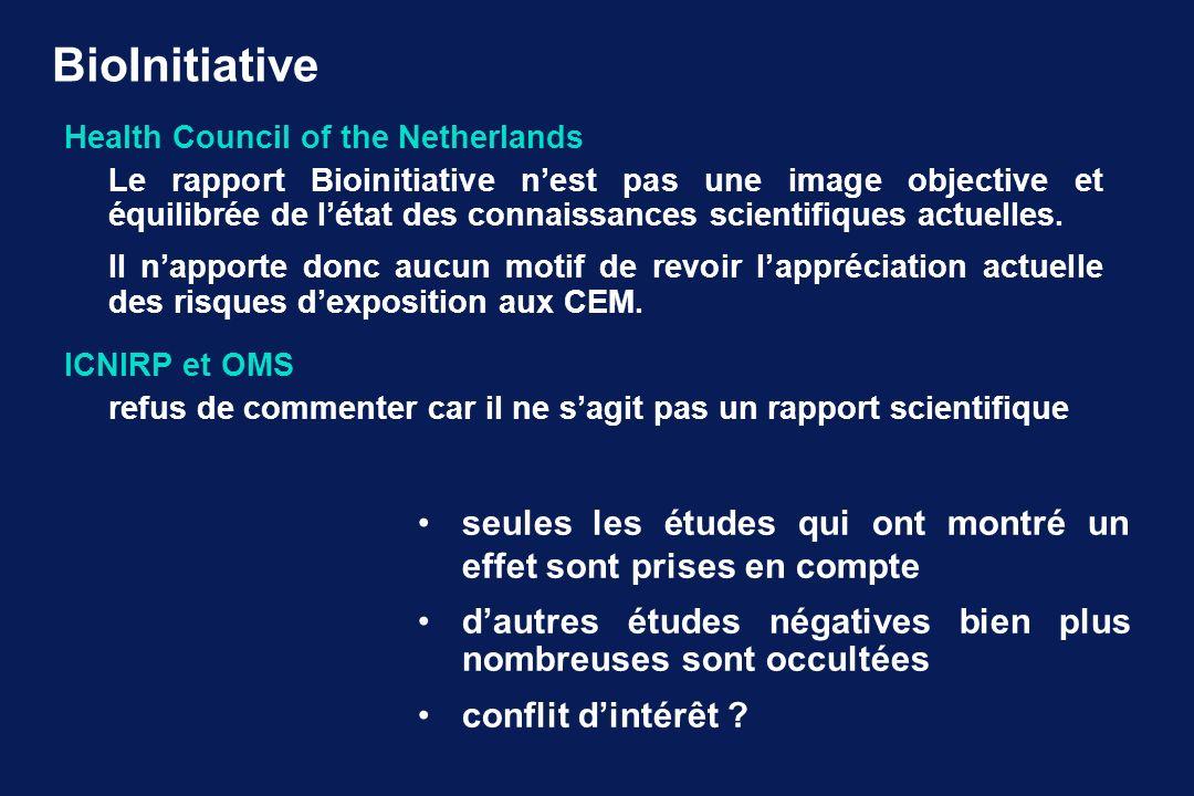 BioInitiative Health Council of the Netherlands Le rapport Bioinitiative nest pas une image objective et équilibrée de létat des connaissances scientifiques actuelles.