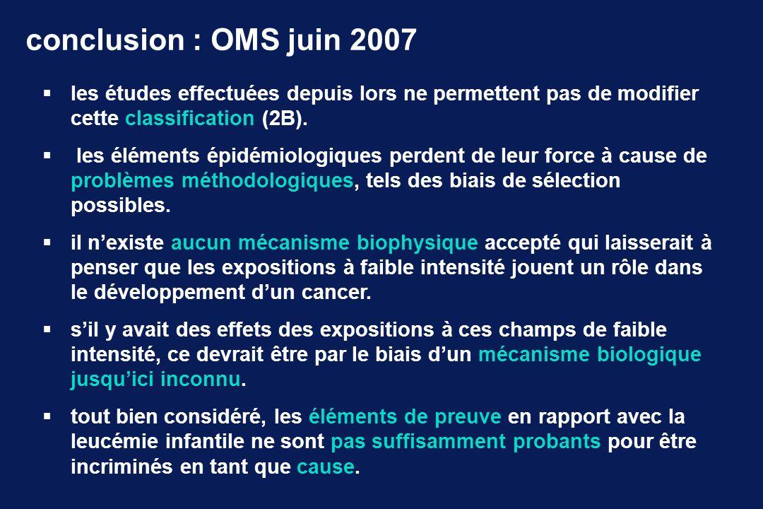 conclusion : OMS juin 2007 les études effectuées depuis lors ne permettent pas de modifier cette classification (2B). les éléments épidémiologiques pe