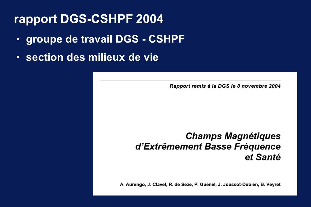 rapport DGS-CSHPF 2004 groupe de travail DGS - CSHPF section des milieux de vie
