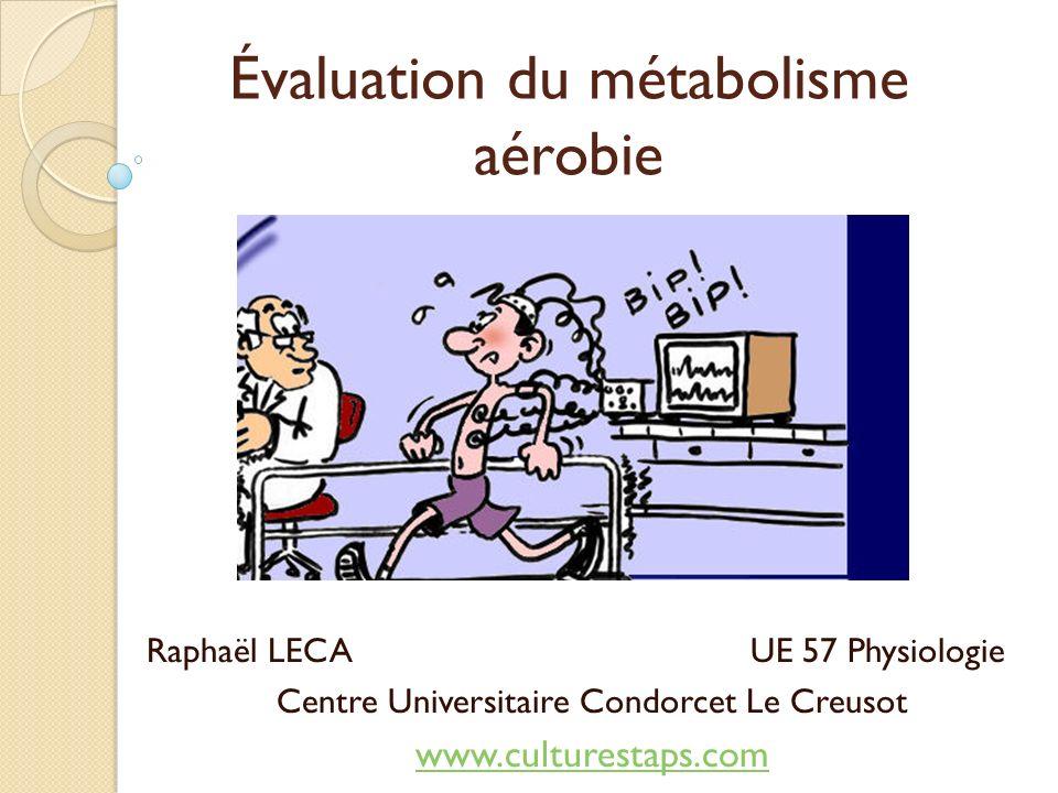 Évaluation du métabolisme aérobie Raphaël LECA UE 57 Physiologie Centre Universitaire Condorcet Le Creusot www.culturestaps.com
