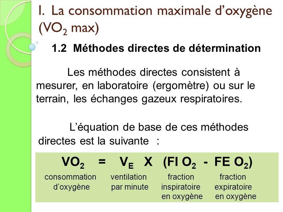 I. La consommation maximale doxygène (VO 2 max) 1.2 Méthodes directes de détermination Les méthodes directes consistent à mesurer, en laboratoire (erg