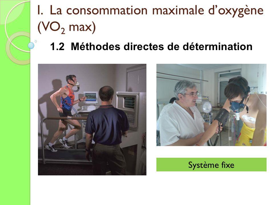 I. La consommation maximale doxygène (VO 2 max) 1.2 Méthodes directes de détermination Système fixe