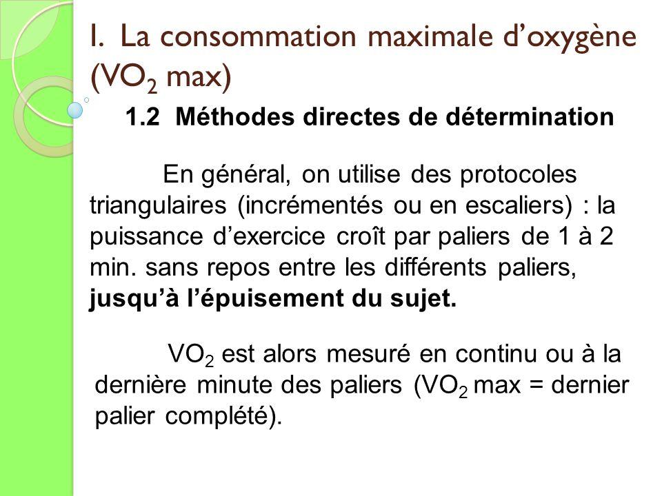 I. La consommation maximale doxygène (VO 2 max) 1.2 Méthodes directes de détermination VO 2 est alors mesuré en continu ou à la dernière minute des pa