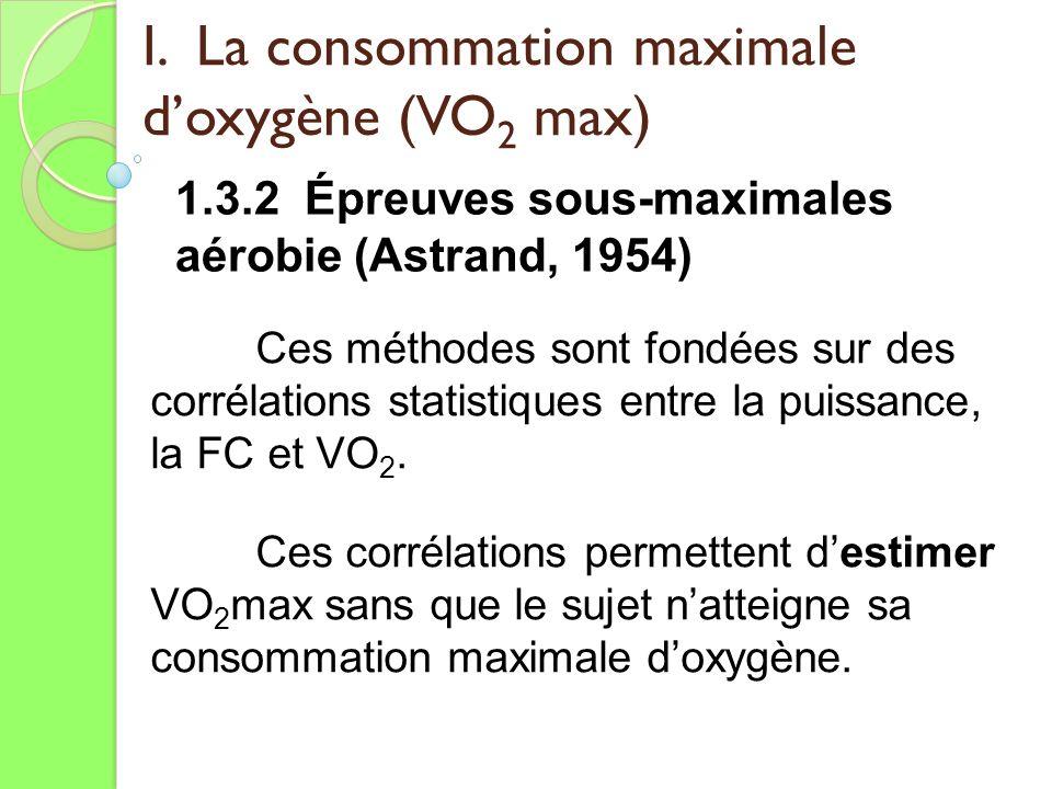 I. La consommation maximale doxygène (VO 2 max) 1.3.2 Épreuves sous-maximales aérobie (Astrand, 1954) Ces méthodes sont fondées sur des corrélations s