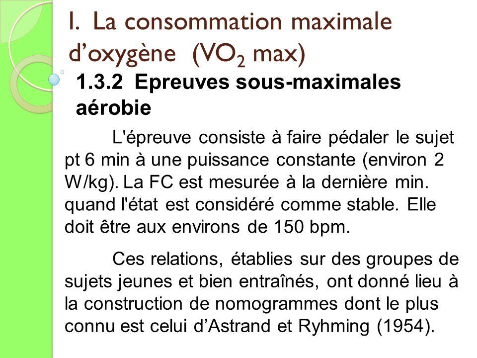 I. La consommation maximale doxygène (VO 2 max) 1.3.2 Epreuves sous-maximales aérobie L'épreuve consiste à faire pédaler le sujet pt 6 min à une puiss
